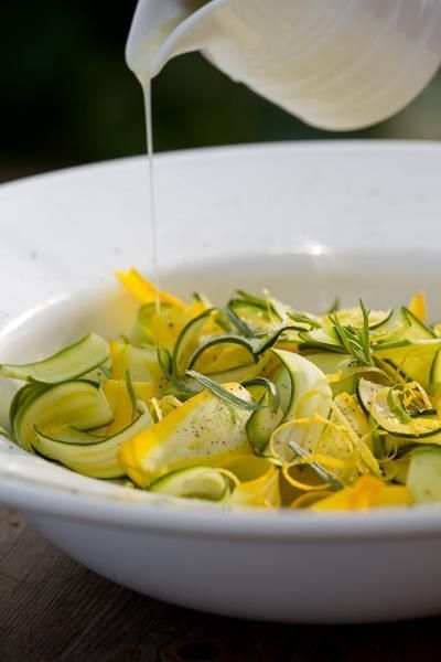 Sarah Raven's simple and delicious recipe for raw courgette salad.