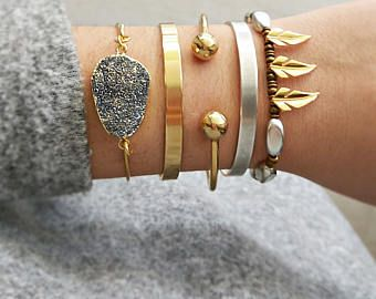 Boho Layered Bracelets Bangle Silver And Gold Plated Handmade Stacked
