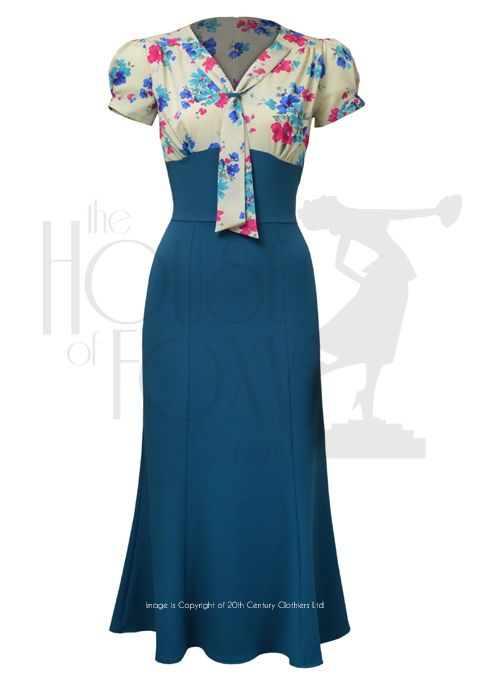 1930s Sweet Thing Dress - teal floral