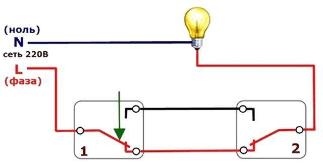 Схема подключения выключателя для управления из двух мест