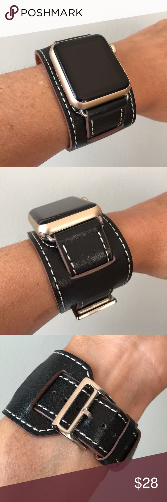 ⚪️Black Apple Watch Leather Cuff Band 38mm 42mm⚪️ Apple Watch cuff band, genuine high quality leather, with SILVER hardware.  It comes with 38mm or 42mm adapters. Please select your size when you purchase. The adapters also fit the Apple Watch I, 2, 3 and Sport.   I have other band colors, hardware colors and styles in my closet. Check them out!   I offer 15% off if you buy two or more! Please add BOTH items to the bundle for the discount to automatically apply.    Only the band is for sale…