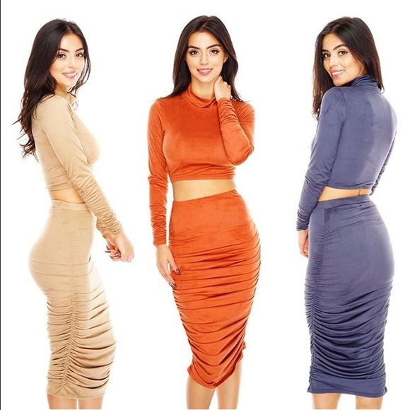 Copper orange two piece suede dress The item I am selling is the copper orange one I also have it in blue which I have listed separately Want my look  Dresses Long Sleeve