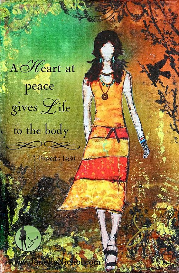 A Heart At Peace Inspirational Christian Artwork With Bible Verse Canvas Print…
