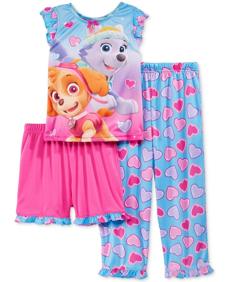 Ame Toddler Girls' 3-Piece Paw Patrol Heart Pajamas Set