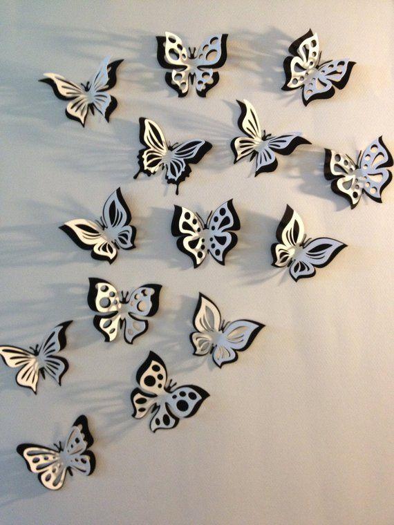 Décoration de salle autocollant 3D papier papillon double, salle de la pépinière, prop de photo, en noir et blanc, 15 pièces