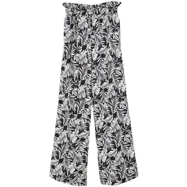 Printed Culottes ($26) ❤ liked on Polyvore featuring pants, capris, stretch waist pants, elastic waistband pants, mango trousers, mango pants and elastic waist pants