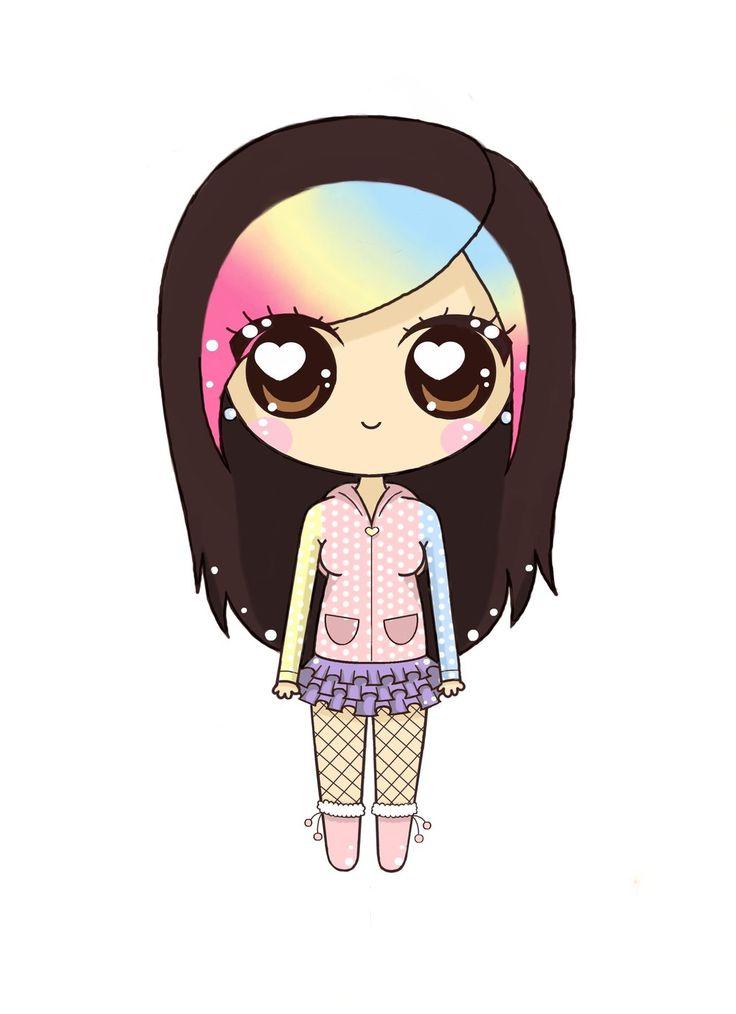 Rainbow Hair Girl - Chibi