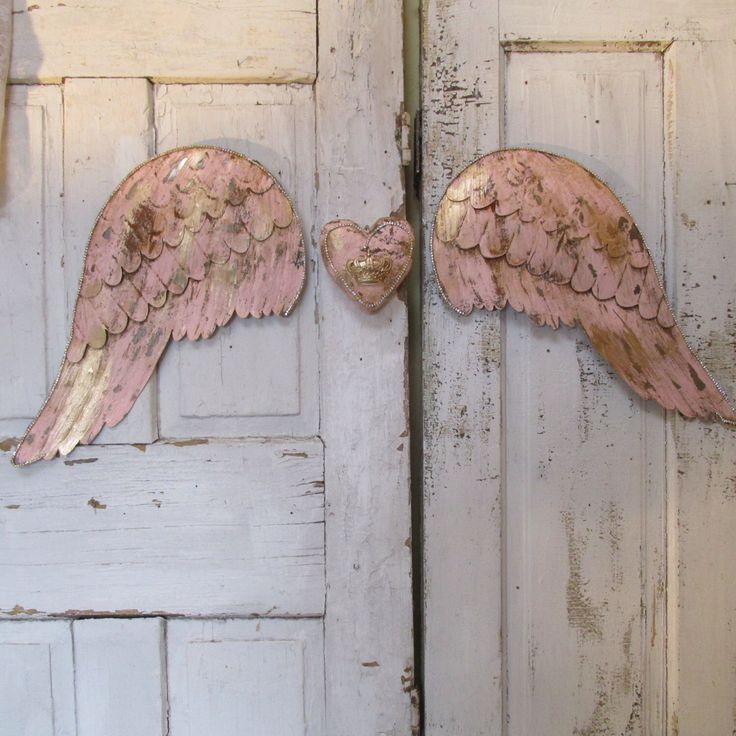 Angel Wings With Heart Wall Decor : Pink metal angel wings wall decor gold and rhinestone