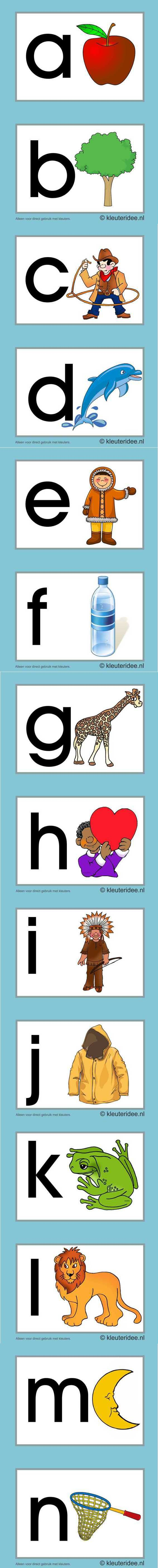 Letterkaarten voor kleuters a, n, kleuteridee.nl , abc cards for preschool , free printable