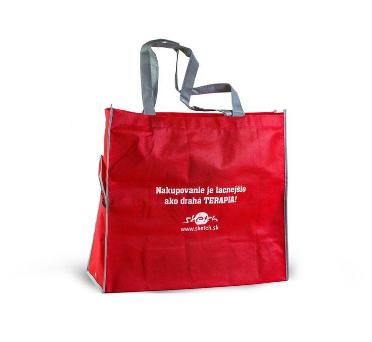 Sieťotlač pvc tašky so sloganom a logom. Taška vodná na nákupy. Prezentujte sa kreatívne. Reklamný predmet.