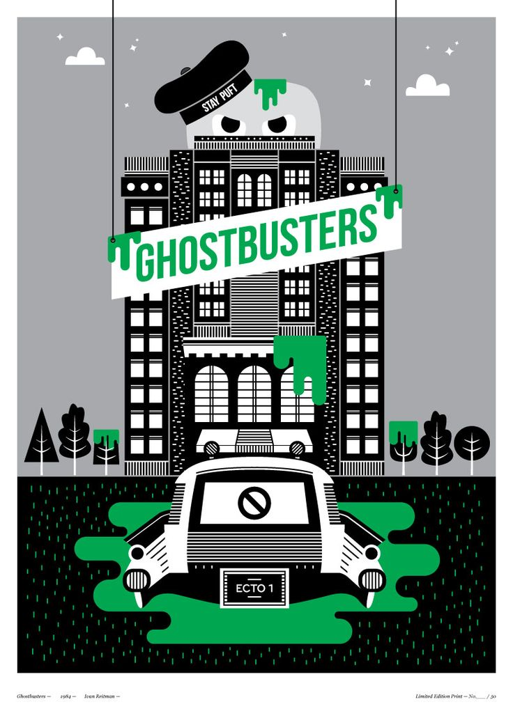 Halloween Poster - Ghostbusters graphic - Poster Design - Little Print Shop of Horrors - Illustration