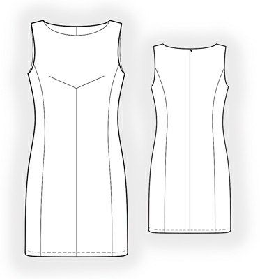 Sleeveless Dress With Bias Dart  - Sewing Pattern #5883 Made-to-measure sewing pattern from Lekala with free online download.
