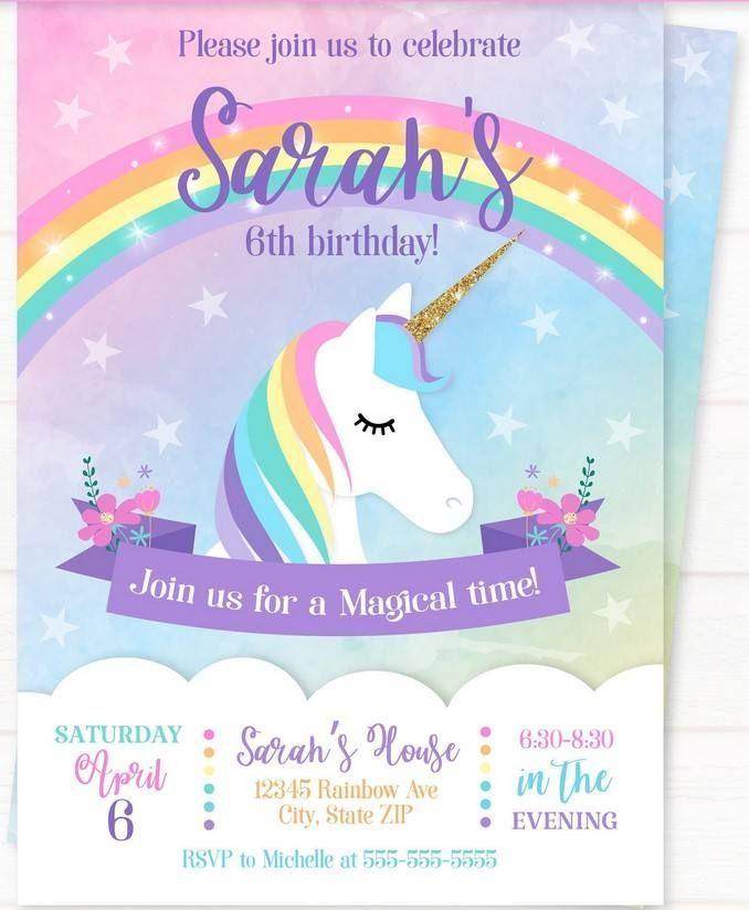 Sweet Party With Rainbow Unicorn Invitation Template Free Printable Drevio Rainbow Unicorn Invitations Unicorn Birthday Invitations Unicorn Invitations