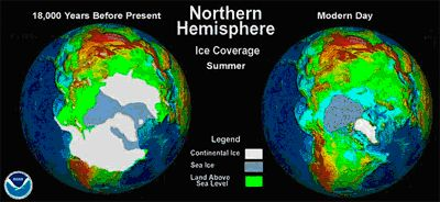 Northern Hemishere ice sheets at the Last Glacial Maximum and present-day