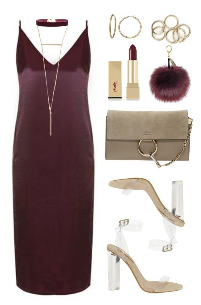 Burgundy vs Gold by baludna on Polyvore featuring polyvore fashion style Topshop Chloé Vanessa Mooney Yves Saint Laurent YEEZY Season 2 clothing