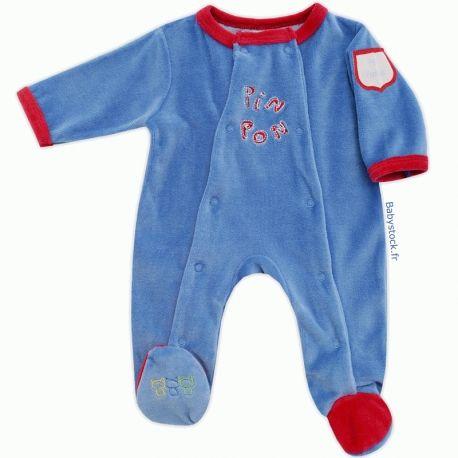 5daf4e56a4ca6 Pyjama dors bien bébé naissance garçon en velours bleu brodé Pin Pon - Les  Chatounets à 12