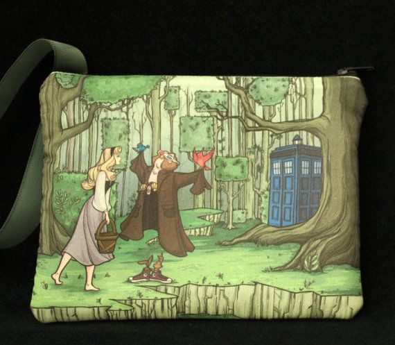 Sleeping Beauty and Doctor Who 10 / Tardis Once Upon a Dream- wristlet purse, handheld video game case- dice bag- makeup case -nintendo DSii on Etsy, $24.00