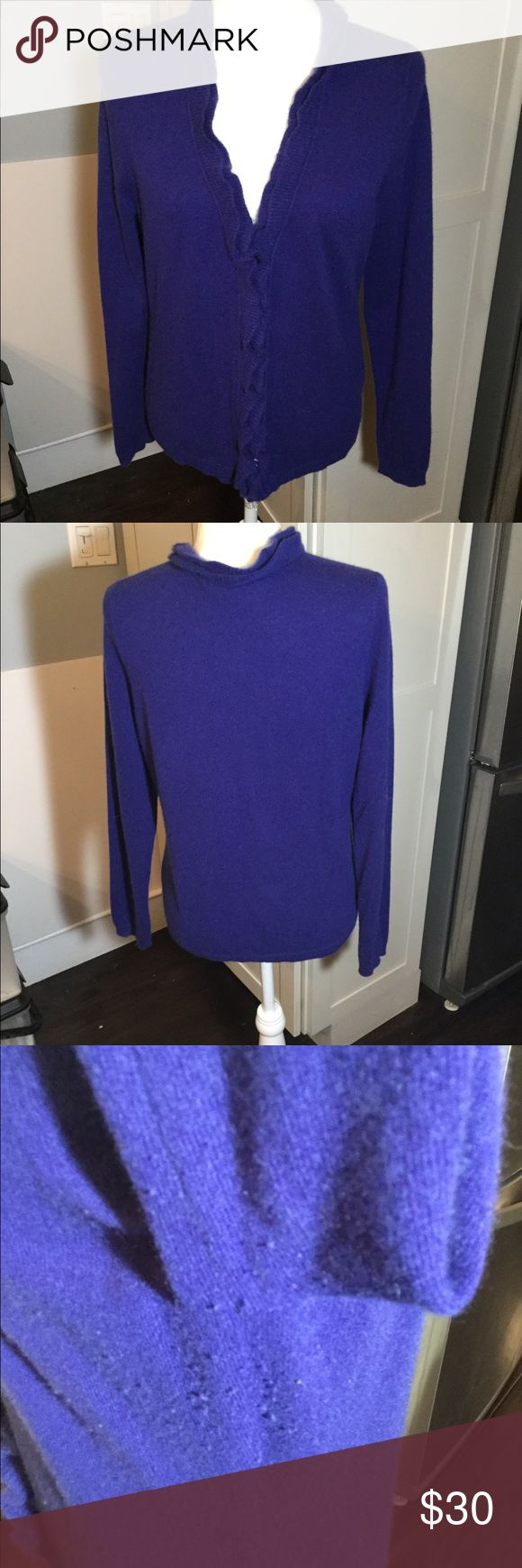 """Garnet Hill Ruffle Trim Cardigan Cashmere Sweater No holes or stains, pilling under arms that I didn't try to remove  Pit to pit flat 19"""" Center back neck down front (not including ruffle at back neck) 22"""" garnet hill Sweaters Cardigans"""