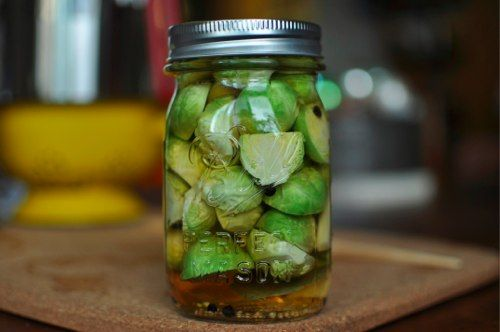 Pickled Brussels Sprouts- These are simply amazing.  We eat them on salads with hummus and with soup.