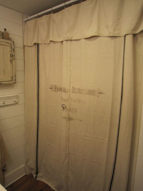 Grain Sack Inspired Shower Curtains Drop Cloth Shower Curtains Pennies Primitives Pennies