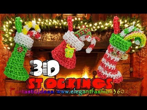 Rainbow Loom - 3D CHRISTMAS STOCKING Charm. Designed and loomed by ElegantFashion360. Click photo for YouTube tutorial. 10/26/14.