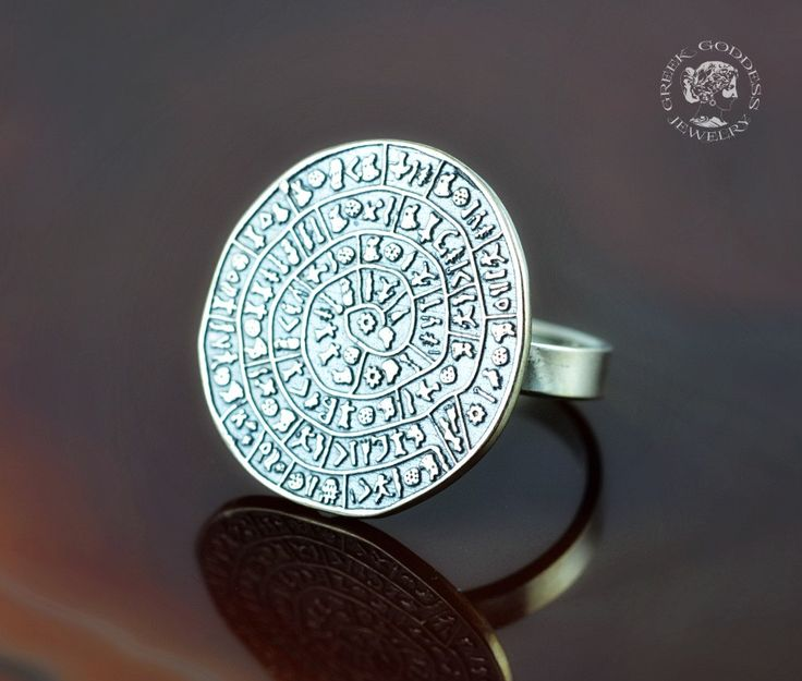 Phaistos Disc silver ring, antique ring, Phaistos Disc, silver Phaistos Disc, greek ring, ancient ring, greek jewelry, antique ring by GreekGoddessJewelry on Etsy