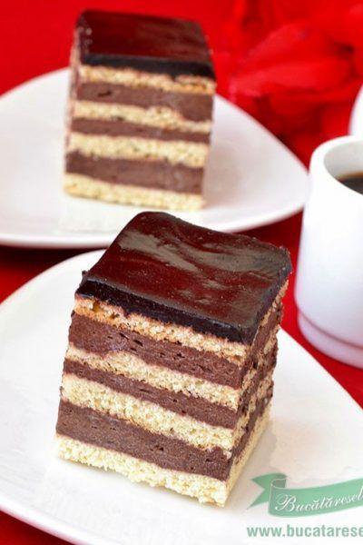 Prajitura cu foi si crema de ciocolata