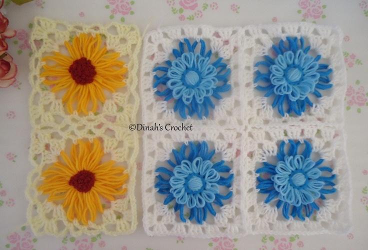 Tutorial bunga loom dengan granny square/spider edging
