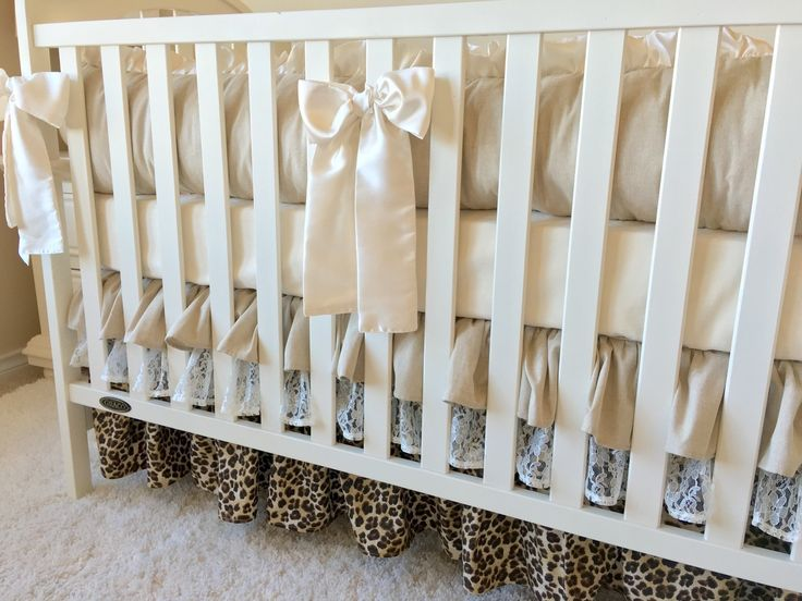 Ruffled Crib Skirt - Linen, Lace, and Leopard