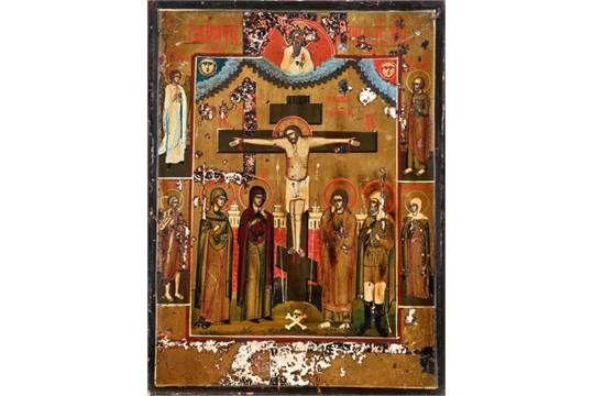 """Ikone, Russland, 18./19. Jh., Darstellung der Kreuzigung Jesu Christi"""", Ei-Tempera auf Holz, teil"""
