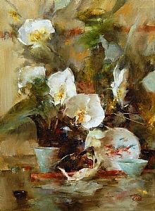 Teapot and Orchids  by Laura Robb