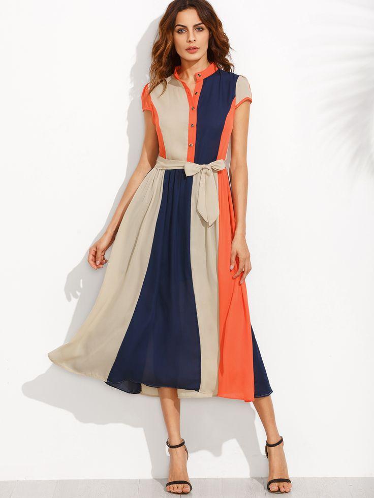 Shop Color Block Bow Tie Waist Buttons Midi Dress online. SheIn offers Color…