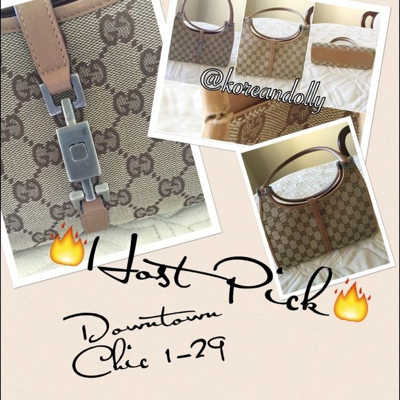 """HP 1-29Gucci purse This Gucci purse is about 10 yr old. There is a slight tear inside rim that is barely noticeable. It's a Jackie O collection. There is a clasp at the front and the inside is clean. The length is 10"""" width is 3 1/2"""" and the height 5 1/2 inches not counting the handle. Gucci Bags Shoulder Bags"""