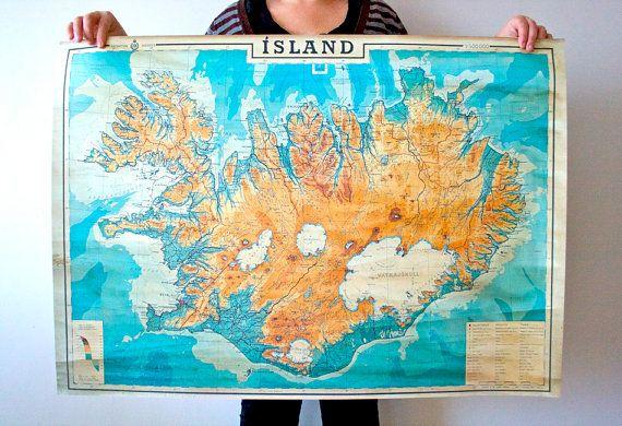 "Map of Iceland 38,5"" x 27"" ( 98,5 x 69,5 cm) Print , Historical map of Iceland, Island, Islandia"