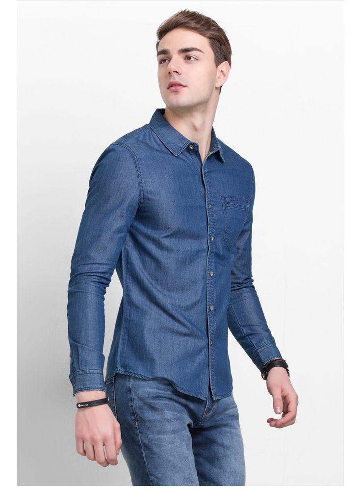 LIGAO Jean hombres de la Camisa de Los Hombres camisas de Mezclilla Lavables de Mezclilla Ocasional de Los Hombres Delgados Camisa de Manga Larga Azul Tamaño S-3XL camisa masculina
