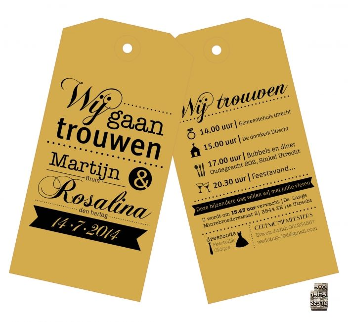 Moderne en abachtelijke label trouwkaart in letterpress, topgrafie ontwerp.In de techniek letterpress, op kraft labels. formaat 7,5 x 15 cm. vershillende kleuren mogelijk