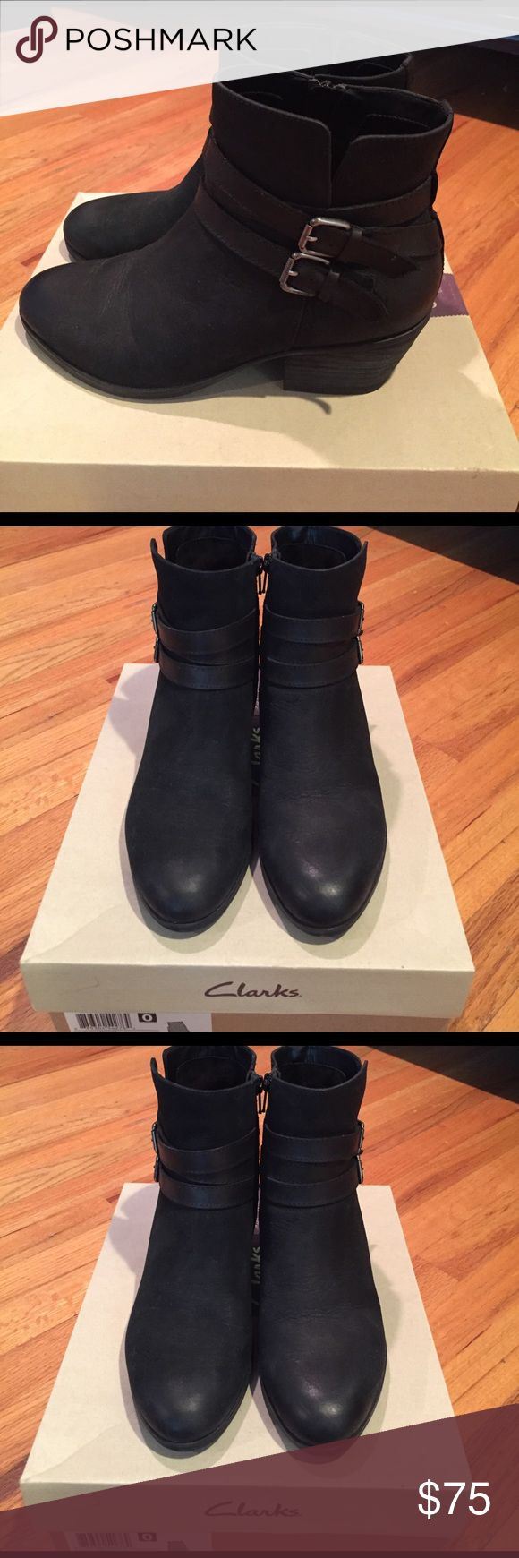 Clarks Gelata Fresca black bootie, 8M. Clarks Gelata Fresca black leather nubuck bootie, size 8.  In excellent condition--worn only 3-4 times.  These look great with sweater dresses, jeans or tights! Clarks Shoes Ankle Boots & Booties