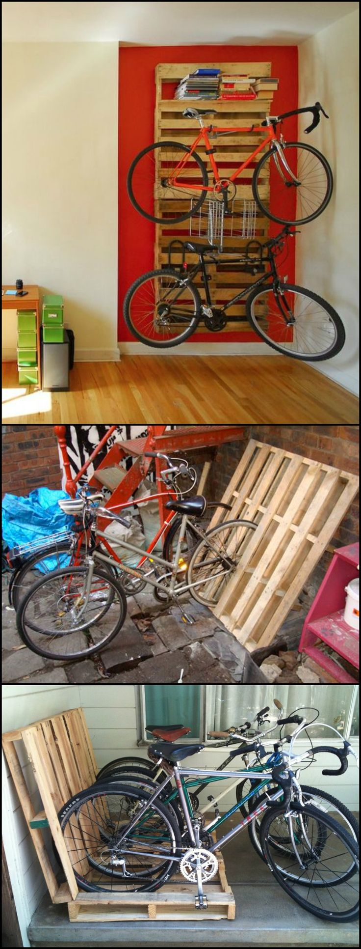 Here's an easy recycling idea for bike enthusiasts!  http://diyprojects.ideas2live4.com/2016/02/02/build-a-bike-rack-from-recycled-pallets/  This pallet project is very simple, It doesn't matter if you've got big bikes or kiddie bikes (or both). Most pallets will fit any regular bike wheel size. Even kids scooters fit perfectly in a pallet bike rack!  Get more DIY pallet bike rack ideas by viewing our album now. :)  Is this going to be your next pallet project? :)