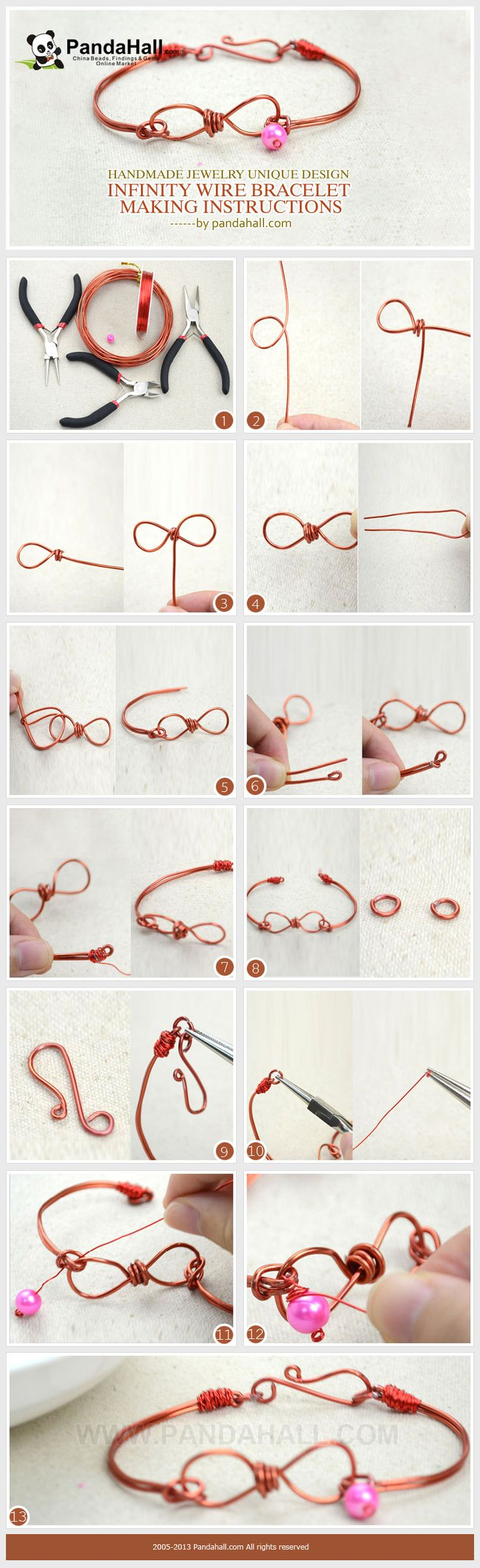 This handmade jewelry unique in style is created by us and we hope you enjoy this infinity wire bracelet making instructions. | DIY | Pinterest | Jewelry, Hand…