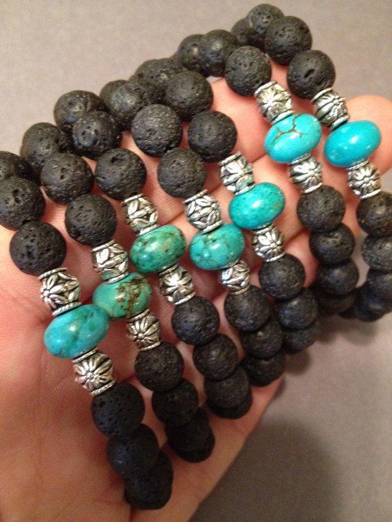 Auf Verkauf TRUE BLUE Türkis und Lava Stein von TempleAdornment