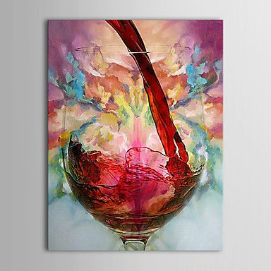 [XmasSale]Oil Paintings One Panel Modern Still Life Wine Cup  Hand-painted Canvas Ready to Hang – USD $ 44.99