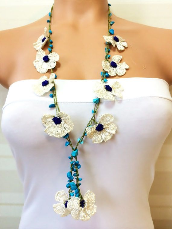 Crochet Beaded Work Strand NecklaceBeaded Handmade by NinnisGift, $17.00