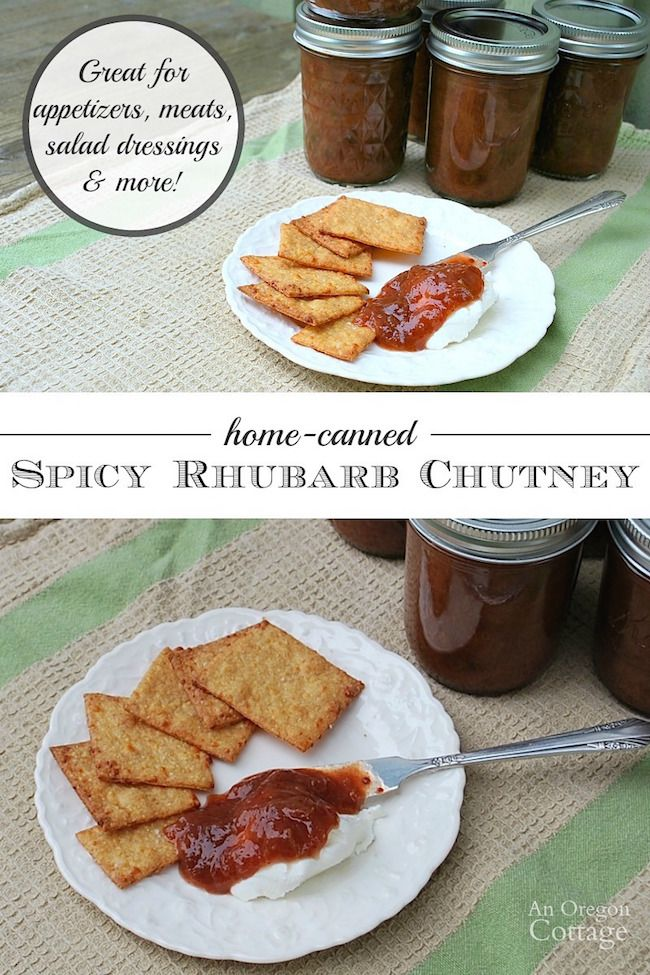 This recipe for home-canned Spicy Rhubarb Chutney makes a perfect condiment for meats, salad dressing addition, or appetizer!