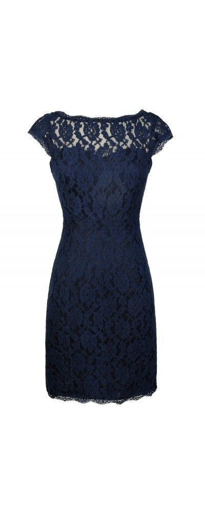 Time and Lace Pencil Dress in Navy