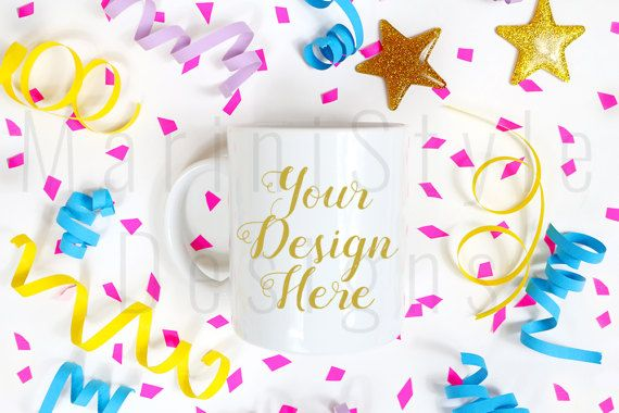 Birthday Mug Mockup, Party Styled Stock Photography, Stock photo, Stock image, White Coffee Mug, Mug Template, White Mug mock up, 381