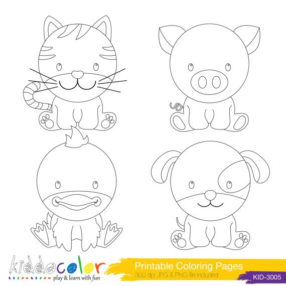 Printable Cute Farm Animals Coloring Pages Amp Digital Stamp 1 On Etsy 270