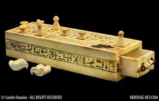 The ancient game of Senet from Kemet (Egypt). This is Tutankhamun's Ivory Senet Board.