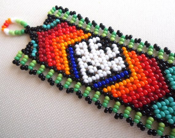 Mexican Huichol Beaded Deer Bracelet by Aramara on Etsy