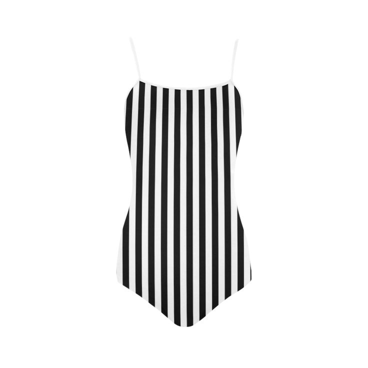 Black and White Stripes Strap Swimsuit