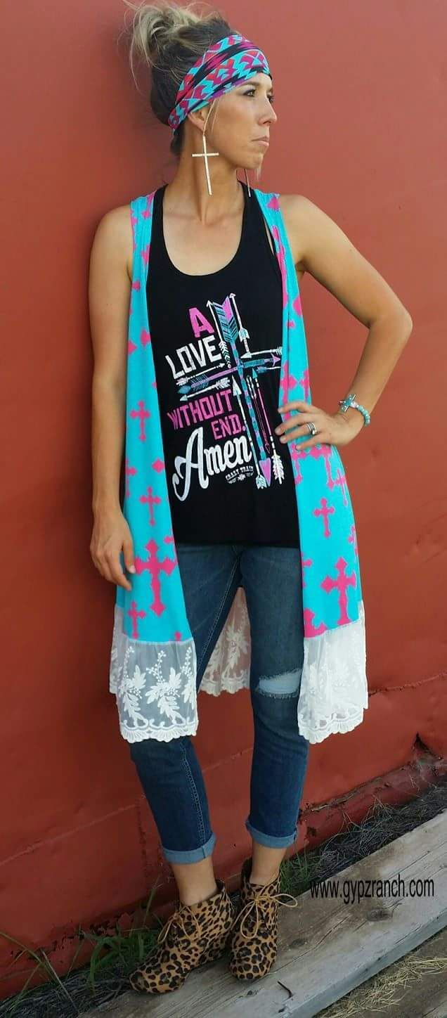 A Brighter Future Cross & Lace Cardigan www.gypzranch.com love this but with flip flops not these shoes